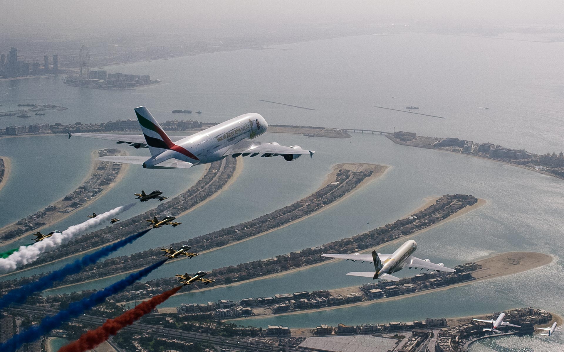 Navigation Films orchestrated aerial filming of a monumental flyover of Dubai for UAE's 47th national day.